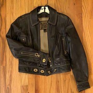 Coach Navy Leather Jacket